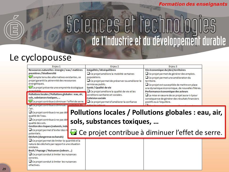 Le cyclopousse Pollutions locales / Pollutions globales : eau, air, sols, substances toxiques, …  Ce projet contribue à diminuer l'effet de serre.