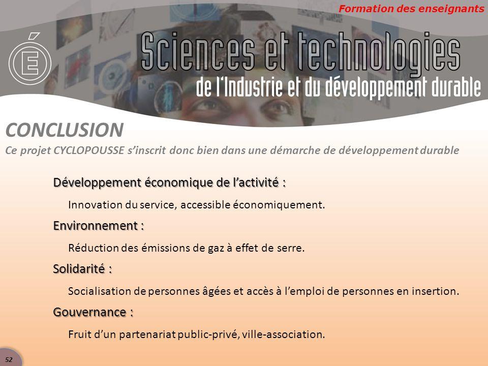 CONCLUSION Développement économique de l'activité : Environnement :