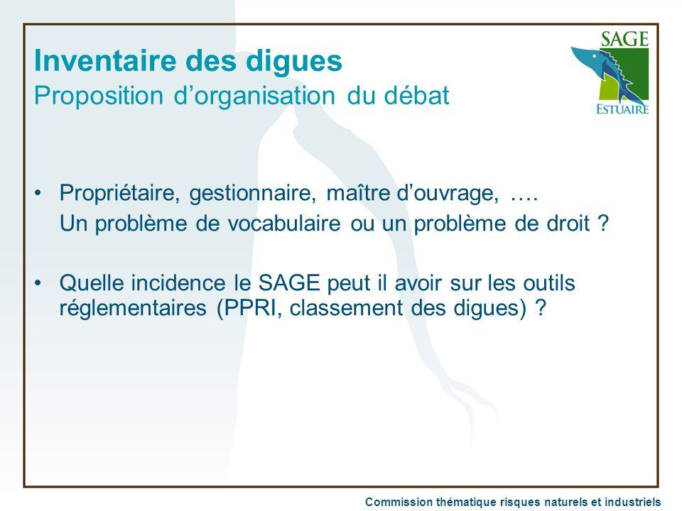 Inventaire des digues Proposition d'organisation du débat