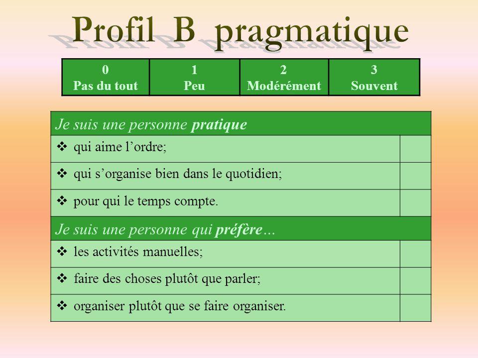 Profil B pragmatique Je suis une personne pratique