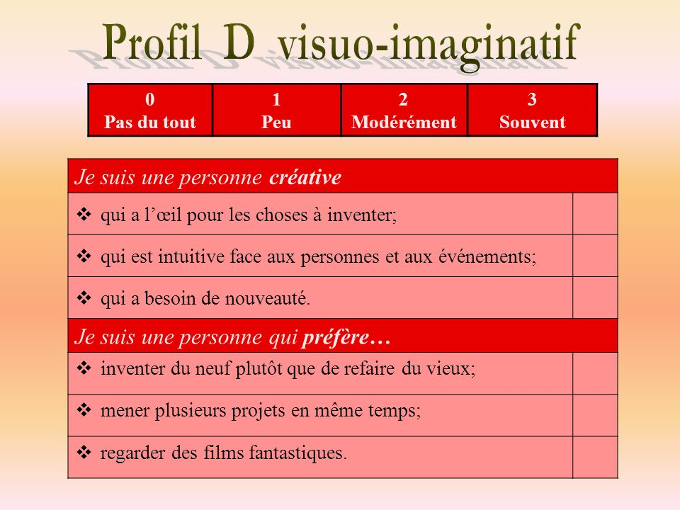 Profil D visuo-imaginatif