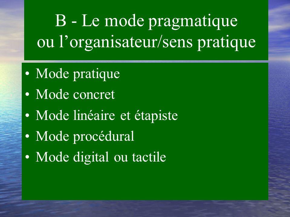 B - Le mode pragmatique ou l'organisateur/sens pratique