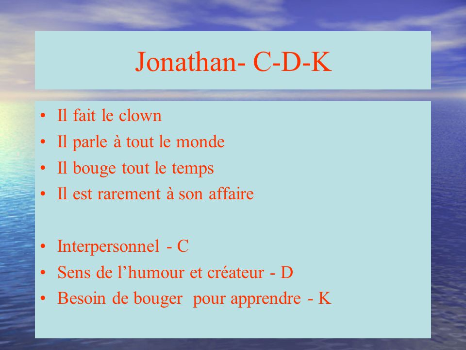 Jonathan- C-D-K Il fait le clown Il parle à tout le monde