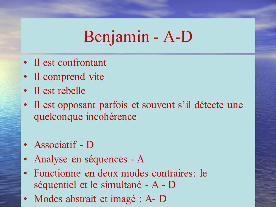 Benjamin - A-D Il est confrontant Il comprend vite Il est rebelle