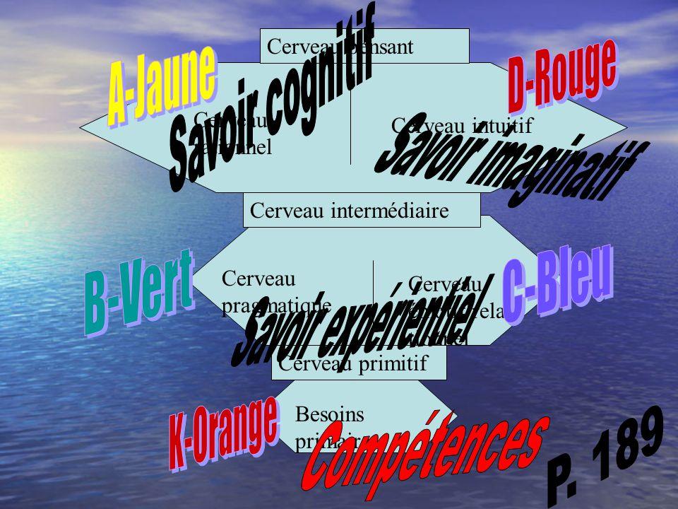 Savoir cognitif Savoir imaginatif D-Rouge A-Jaune Savoir expérientiel
