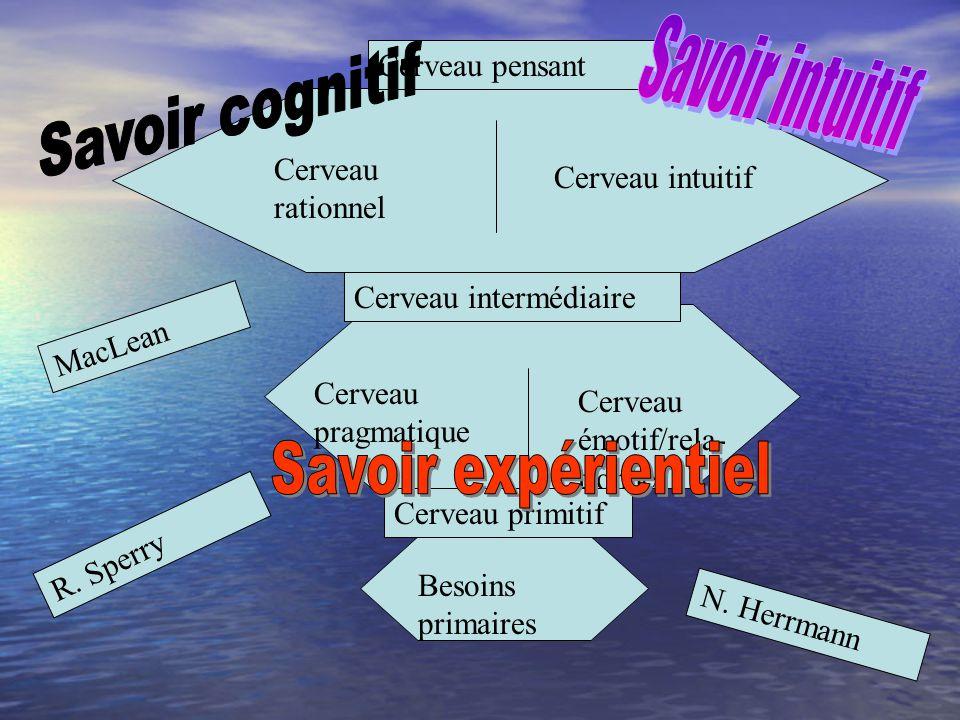 Savoir intuitif Savoir cognitif Savoir expérientiel Cerveau pensant