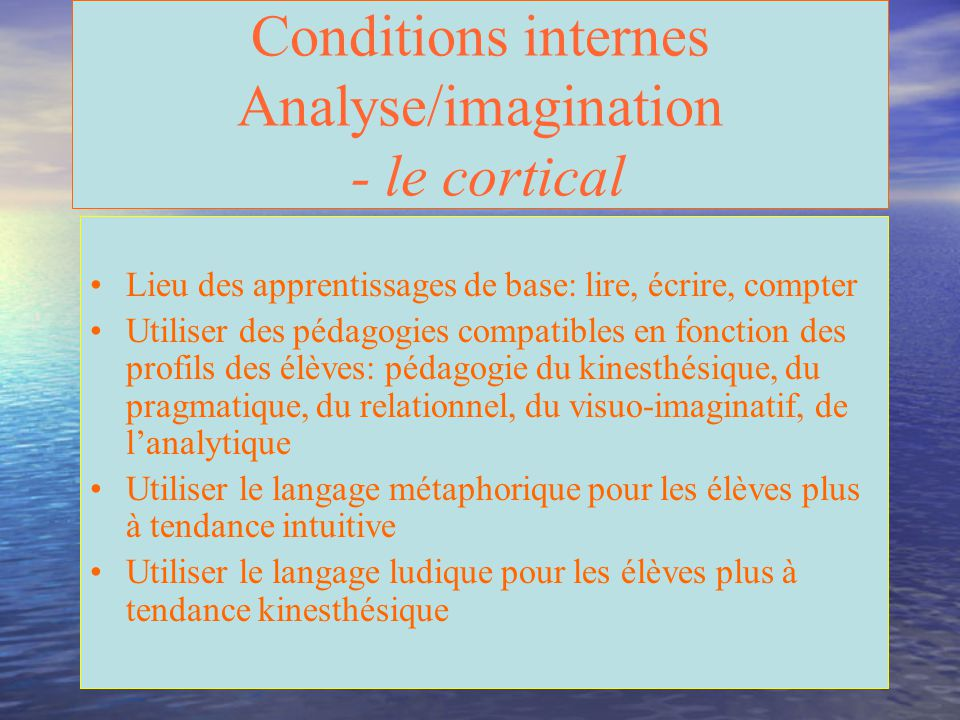 Conditions internes Analyse/imagination - le cortical