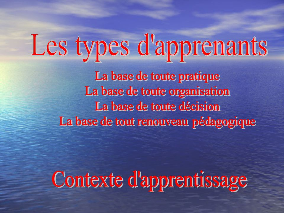 Les types d apprenants Contexte d apprentissage
