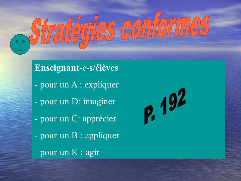 Stratégies conformes P. 192 Enseignant-e-s/élèves