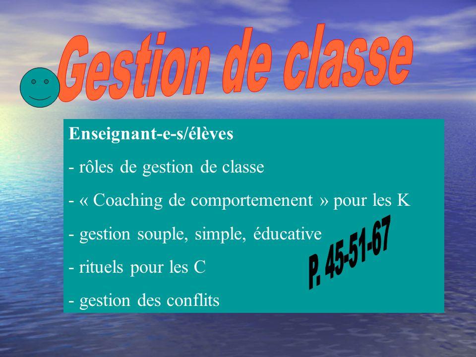Gestion de classe P. 45-51-67 Enseignant-e-s/élèves