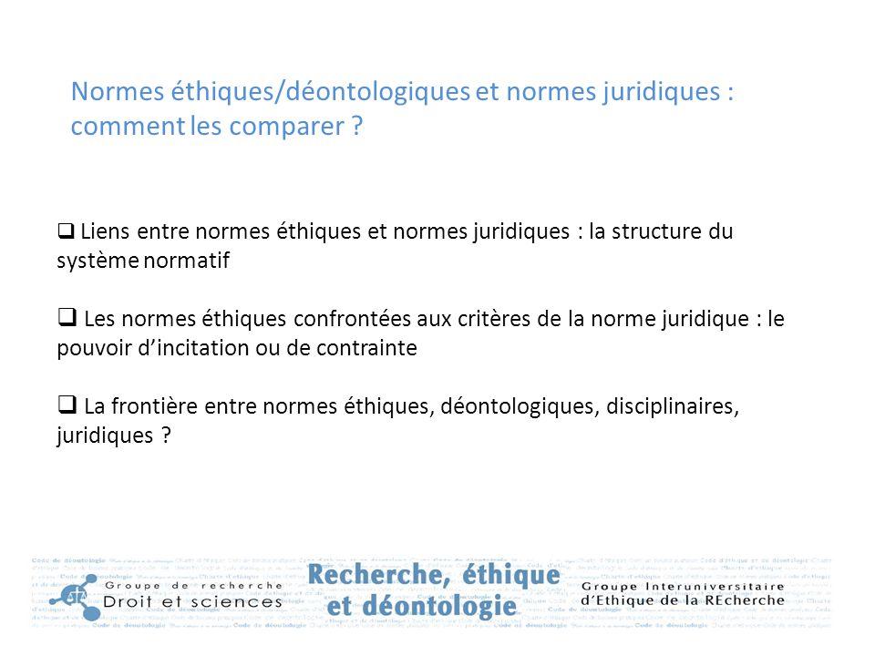 Normes éthiques/déontologiques et normes juridiques : comment les comparer