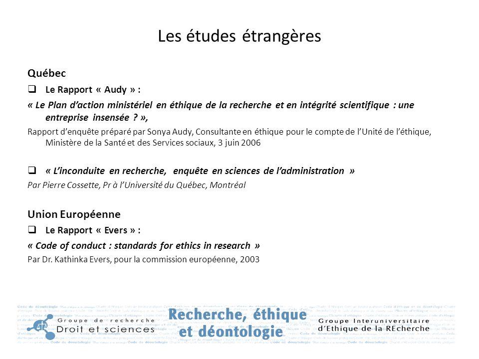 Les études étrangères Québec Union Européenne Le Rapport « Audy » :
