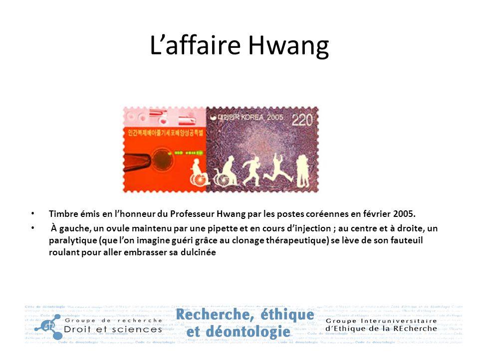 L'affaire Hwang Timbre émis en l'honneur du Professeur Hwang par les postes coréennes en février 2005.