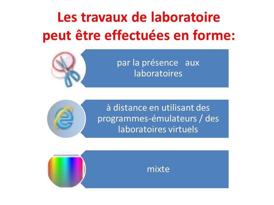 Les travaux de laboratoire peut être effectuées en forme: