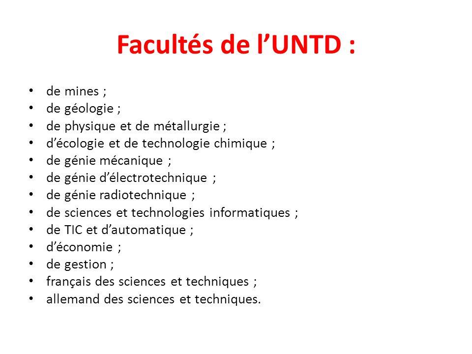Facultés de l'UNTD : de mines ; de géologie ;