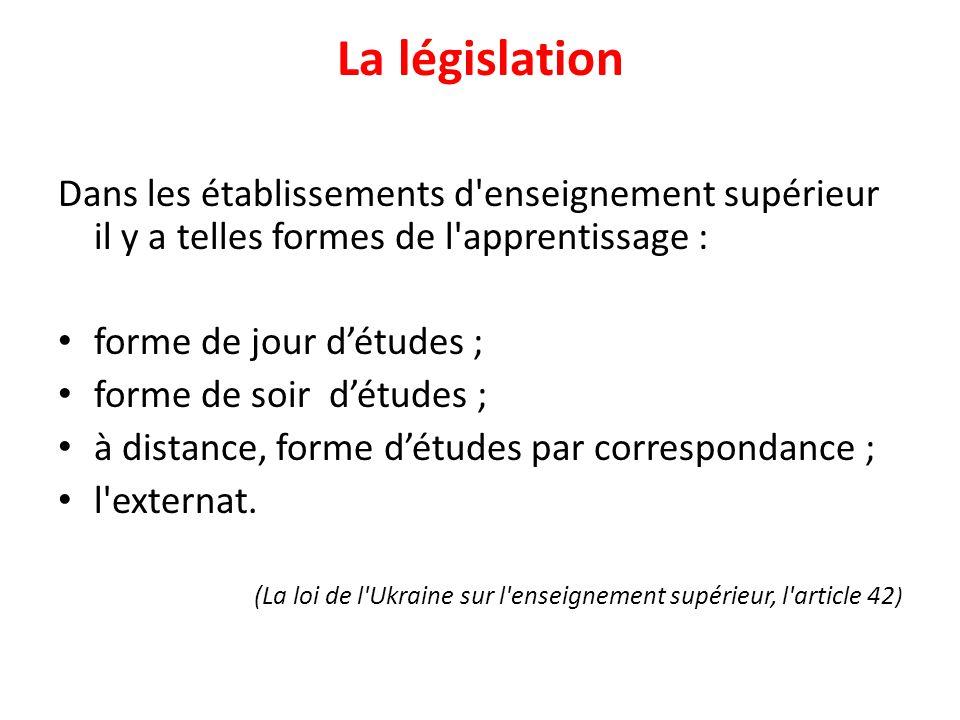 La législation Dans les établissements d enseignement supérieur il y a telles formes de l apprentissage :