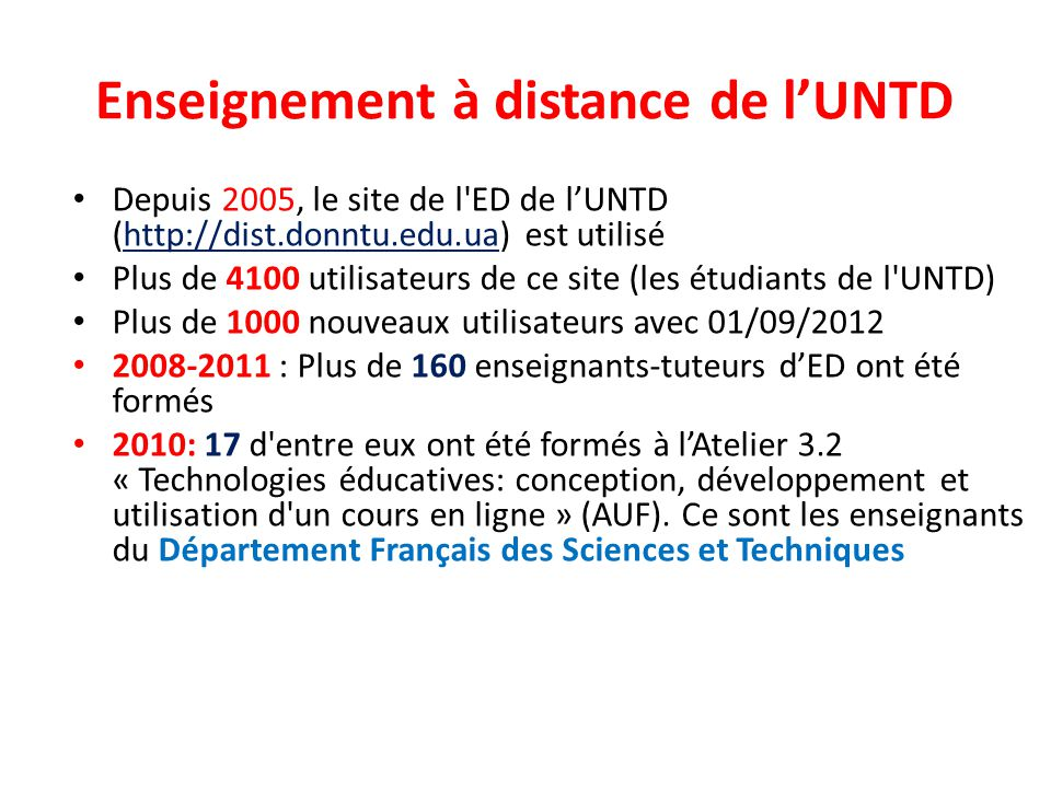 Enseignement à distance de l'UNTD
