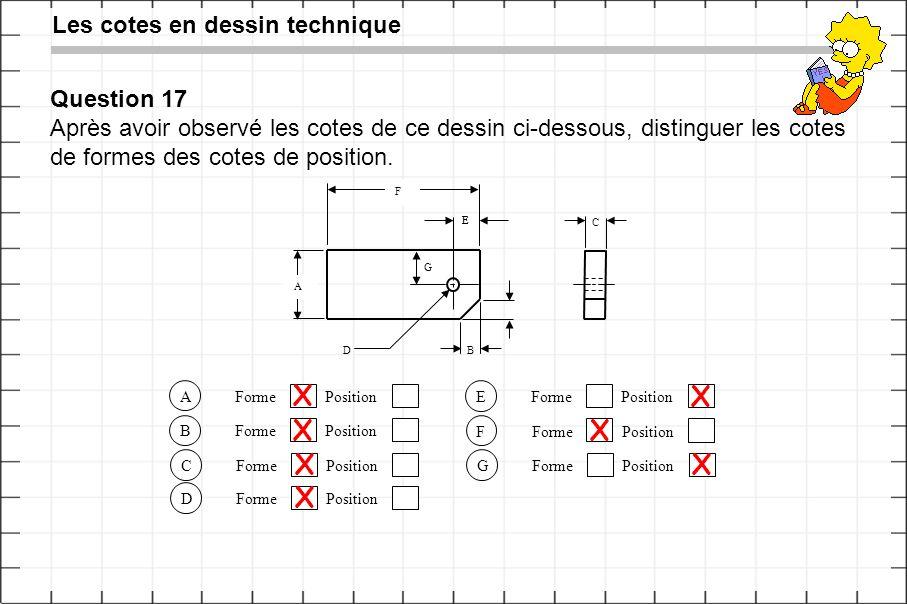 X X X X X X X Les cotes en dessin technique Question 17