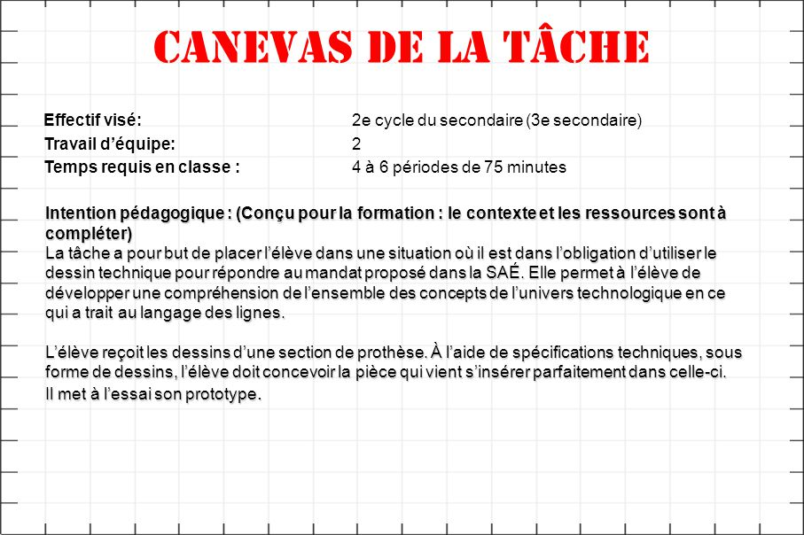 Canevas de la tâche Effectif visé: 2e cycle du secondaire (3e secondaire) Travail d'équipe: 2.