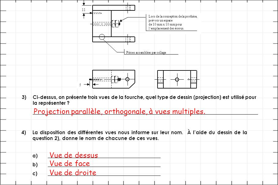 Projection parallèle, orthogonale, à vues multiples.