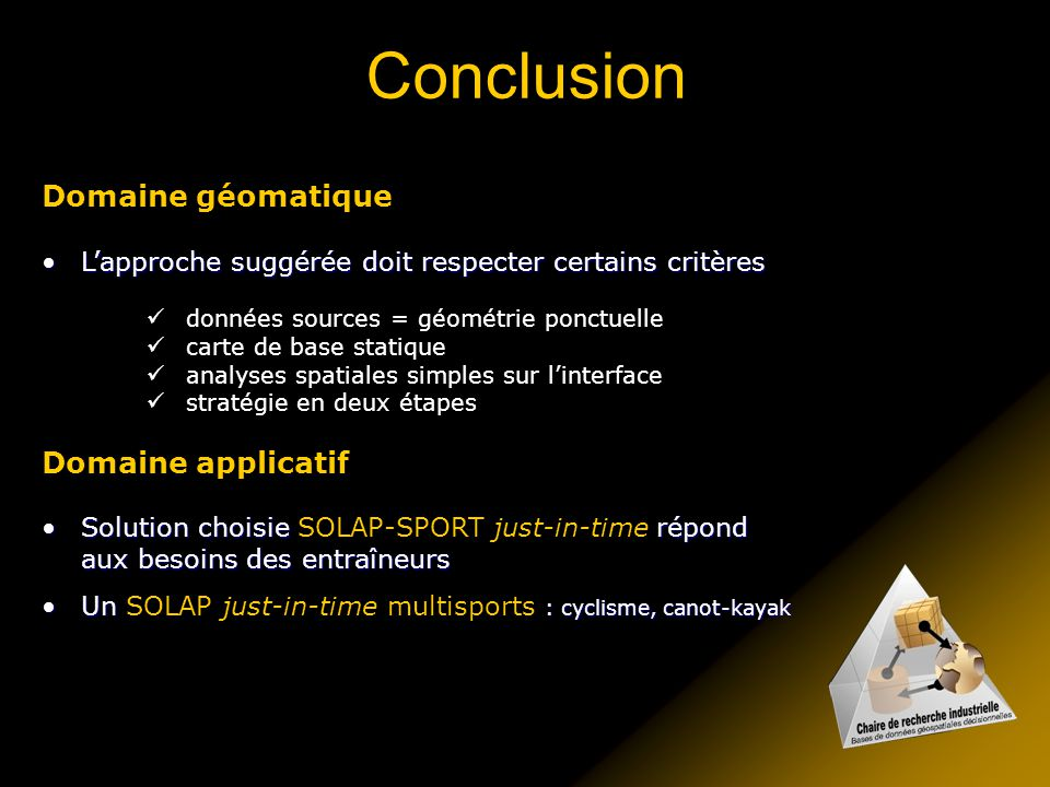 Conclusion Domaine géomatique Domaine applicatif