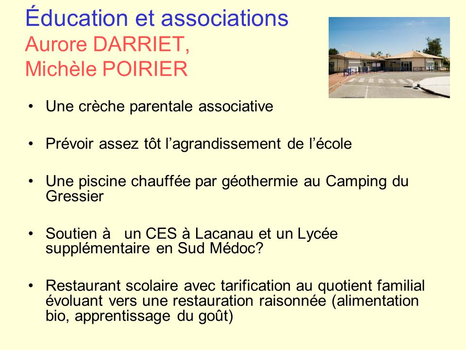 Éducation et associations Aurore DARRIET, Michèle POIRIER