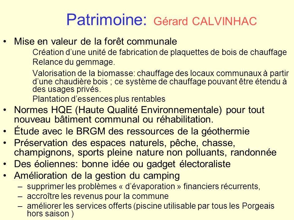 Patrimoine: Gérard CALVINHAC
