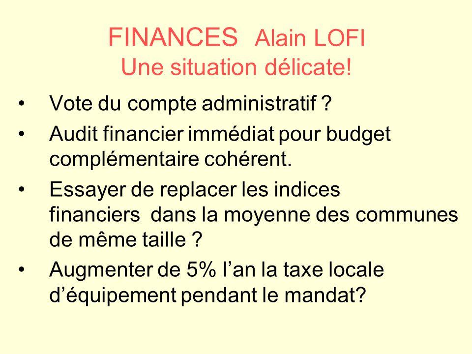 FINANCES Alain LOFI Une situation délicate!