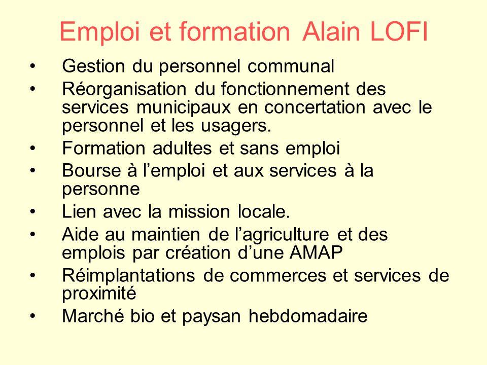 Emploi et formation Alain LOFI