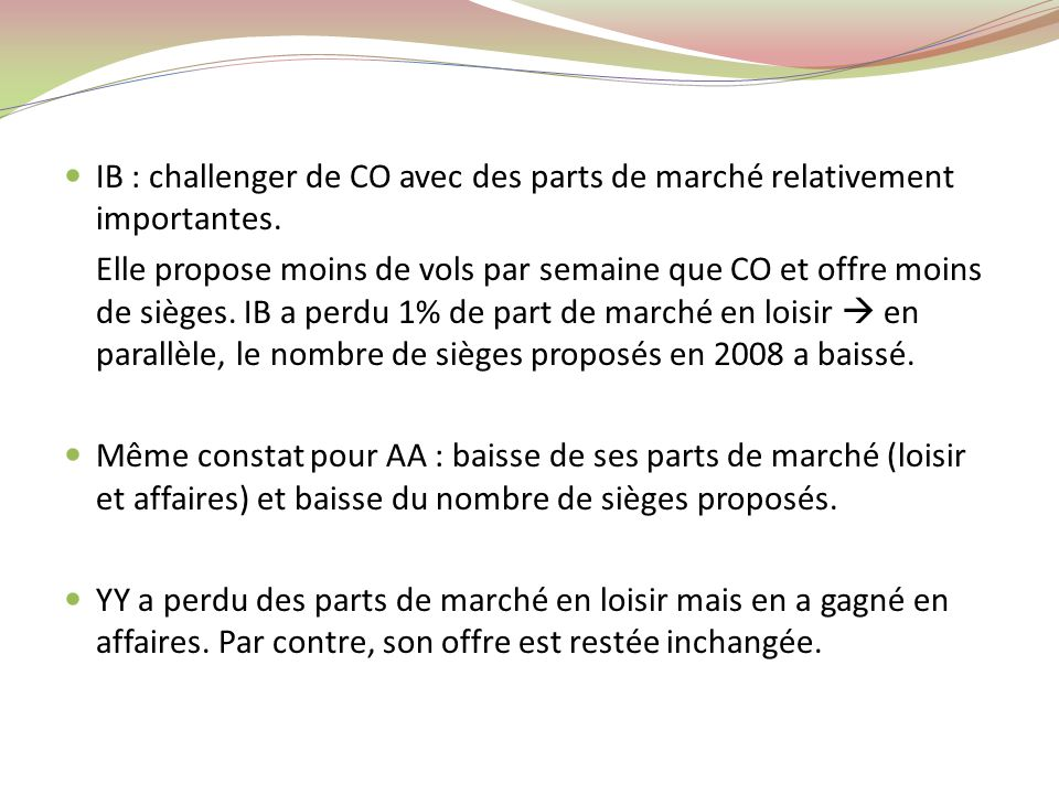 IB : challenger de CO avec des parts de marché relativement importantes.