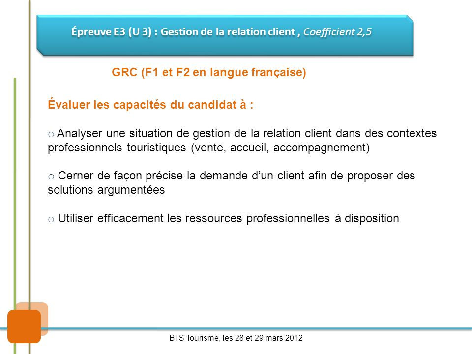 Épreuve E3 (U 3) : Gestion de la relation client , Coefficient 2,5