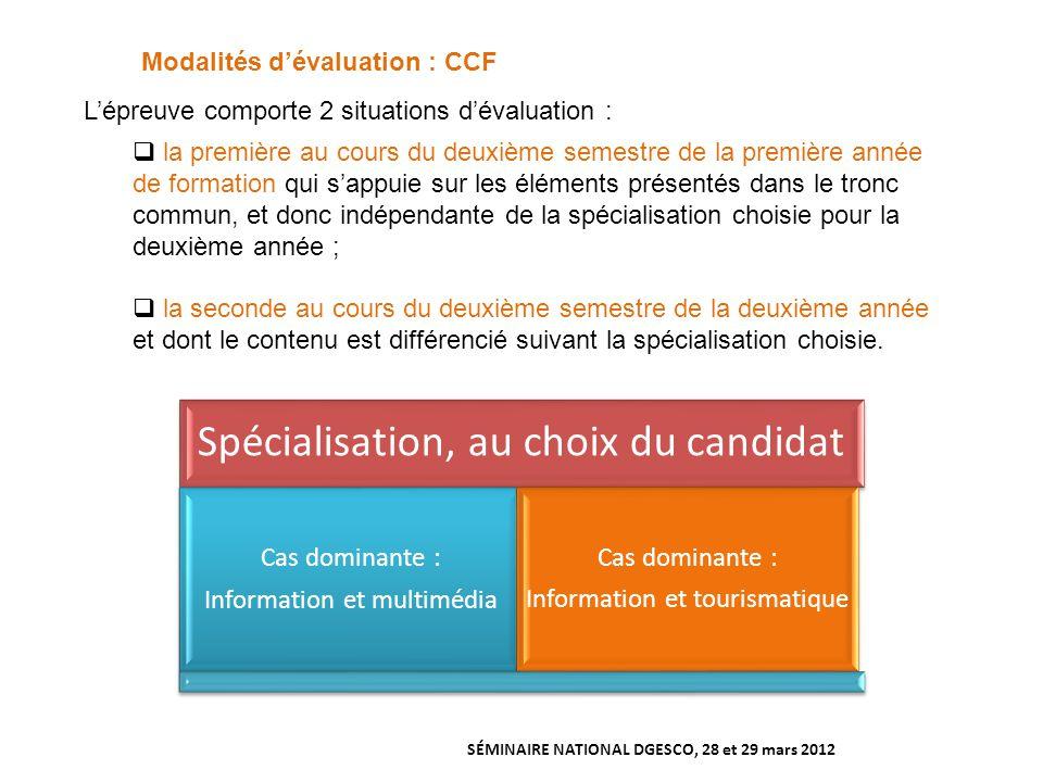 Modalités d'évaluation : CCF
