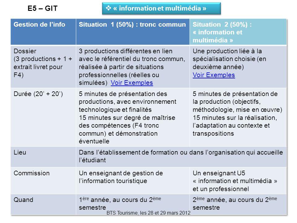 BTS Tourisme, les 28 et 29 mars 2012