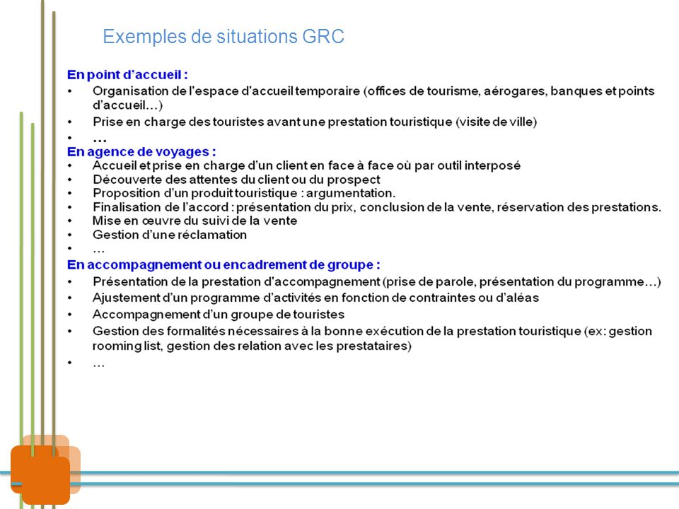 Exemples de situations GRC
