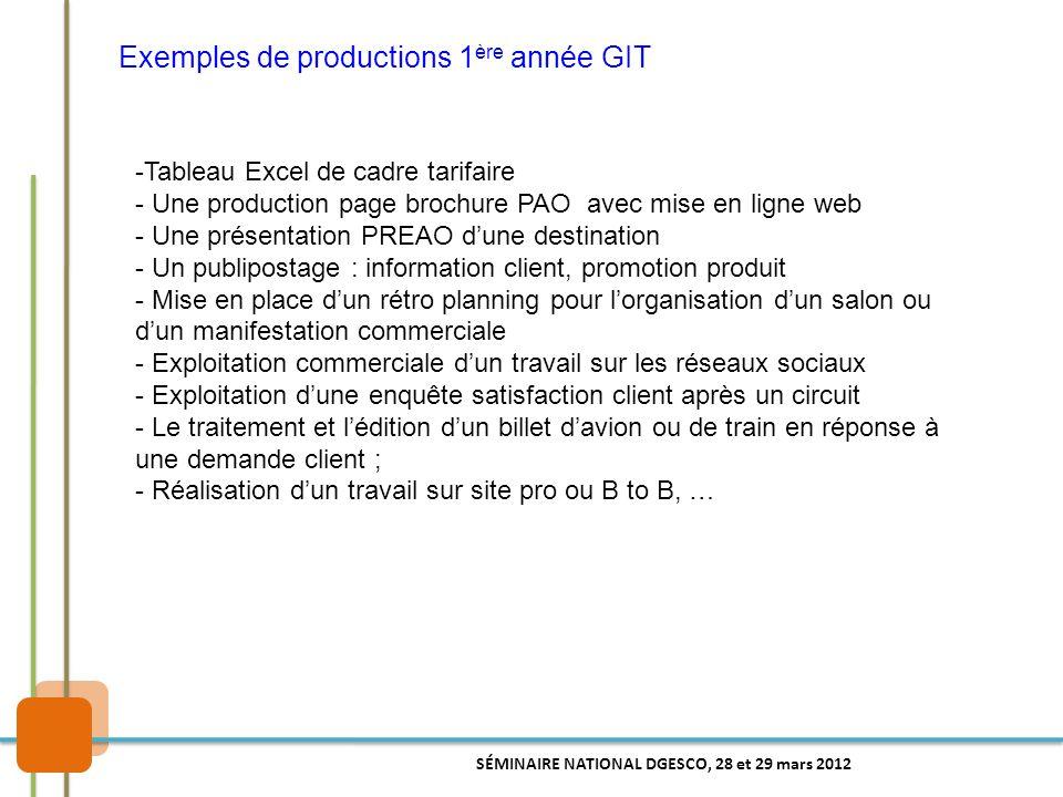 Exemples de productions 1ère année GIT