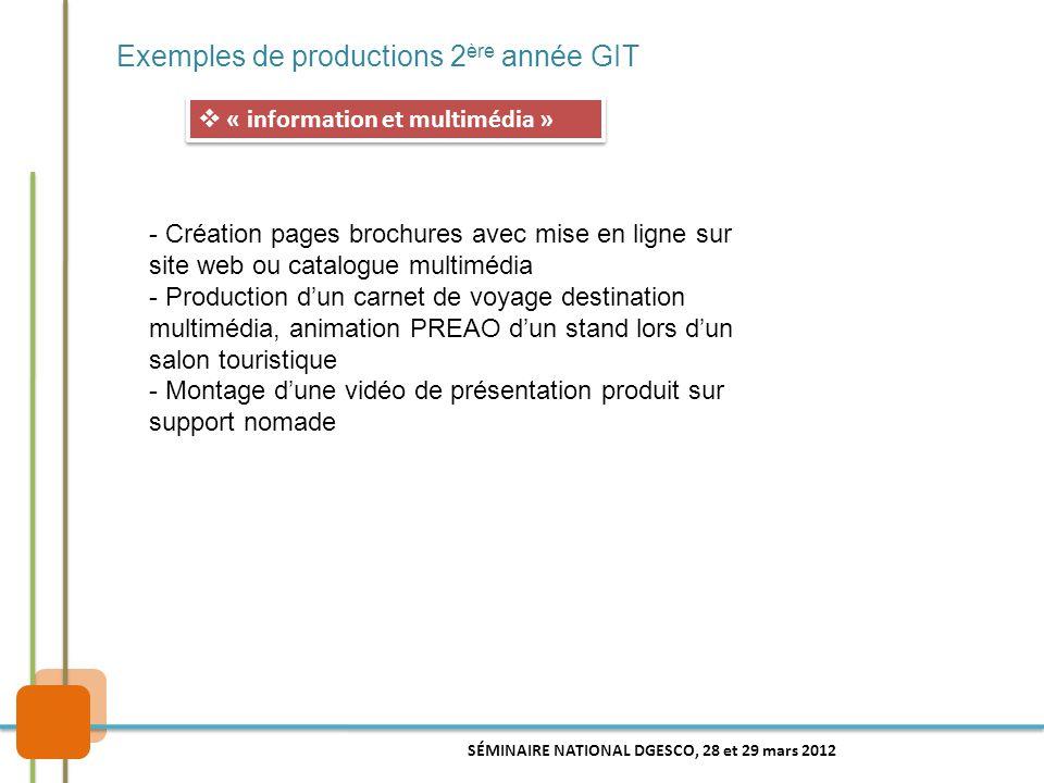 Exemples de productions 2ère année GIT