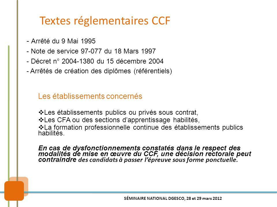 Textes réglementaires CCF