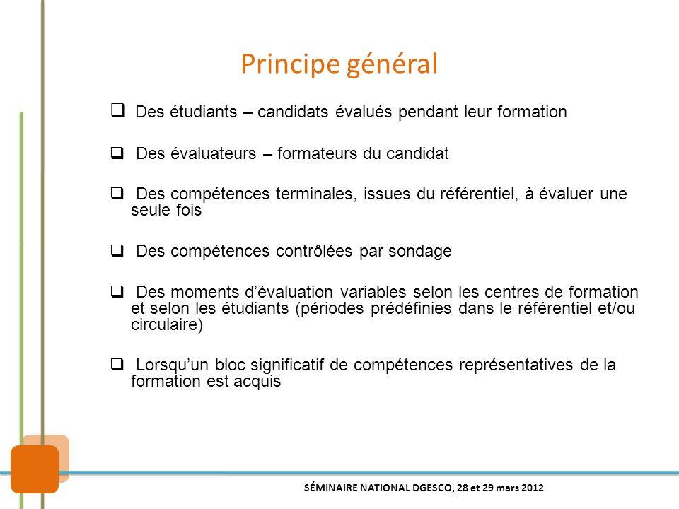 Principe général Des étudiants – candidats évalués pendant leur formation. Des évaluateurs – formateurs du candidat.