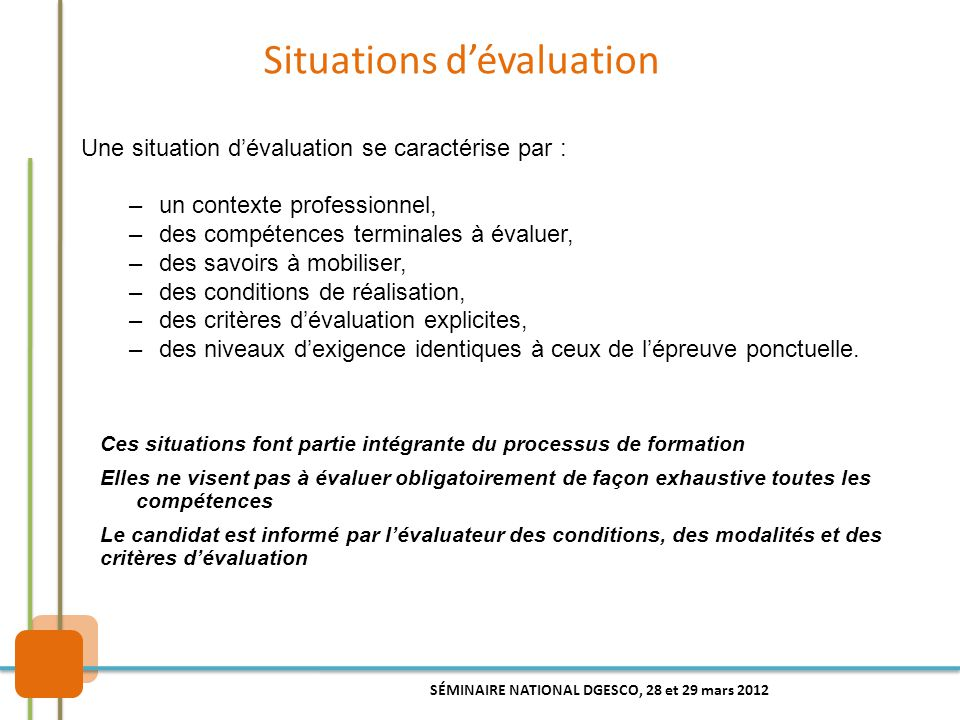 Situations d'évaluation