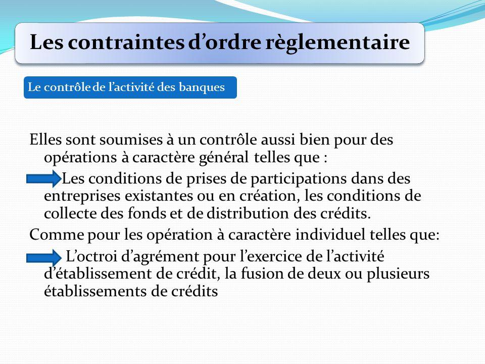 Les contraintes d'ordre règlementaire