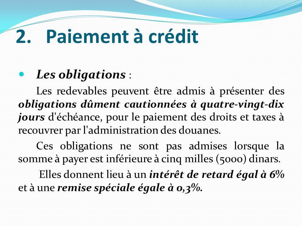 Paiement à crédit Les obligations :