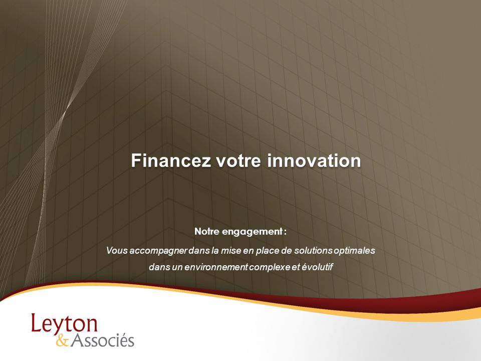 Financez votre innovation