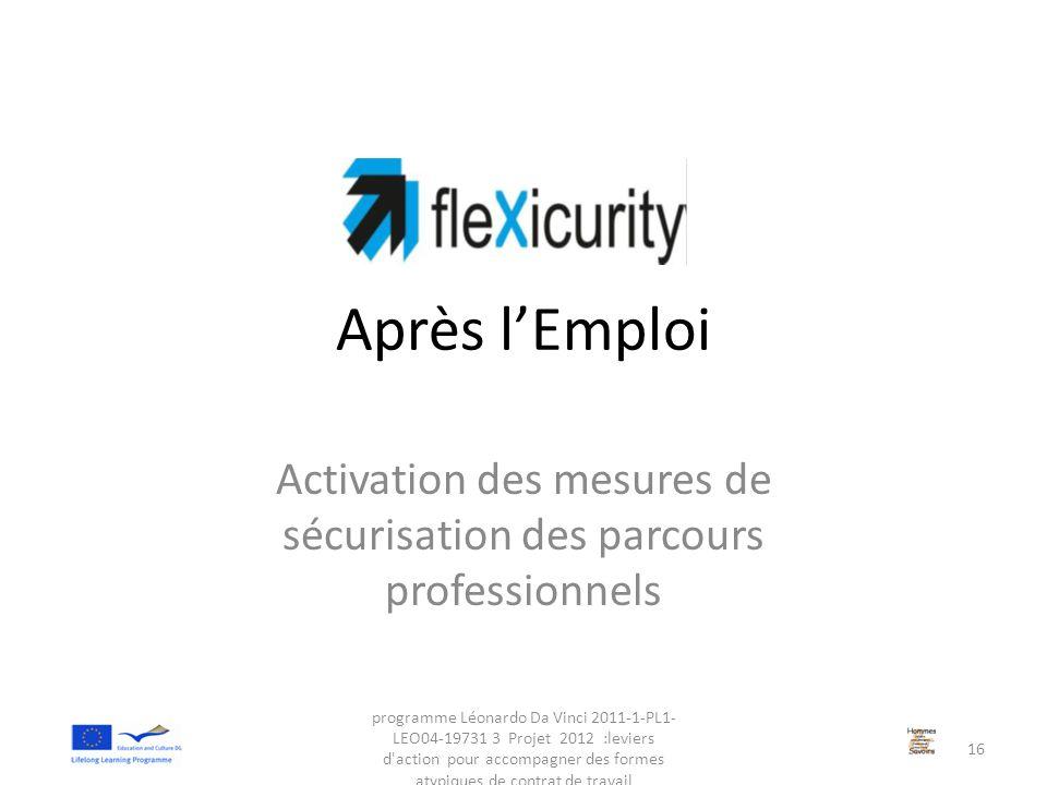 Activation des mesures de sécurisation des parcours professionnels