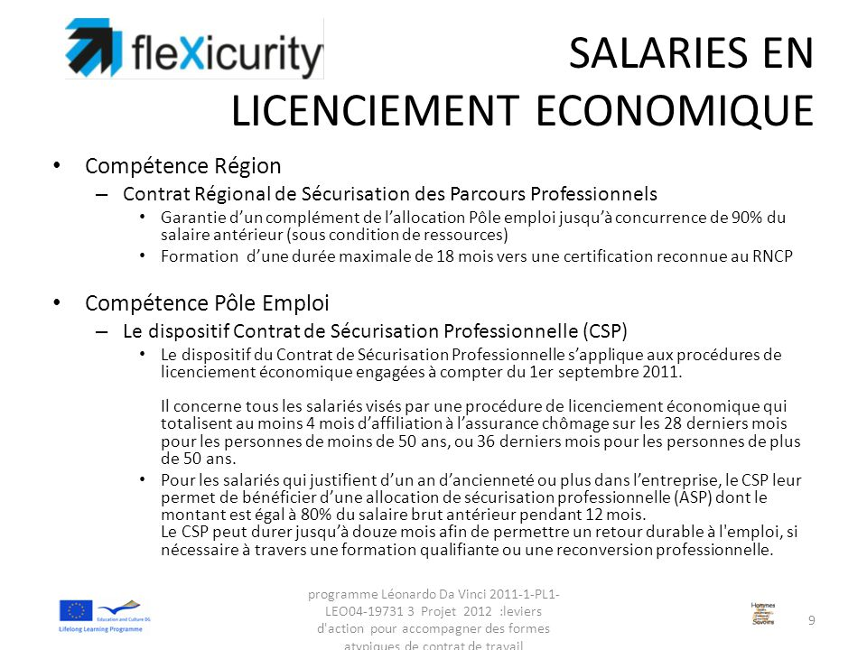 SALARIES EN LICENCIEMENT ECONOMIQUE