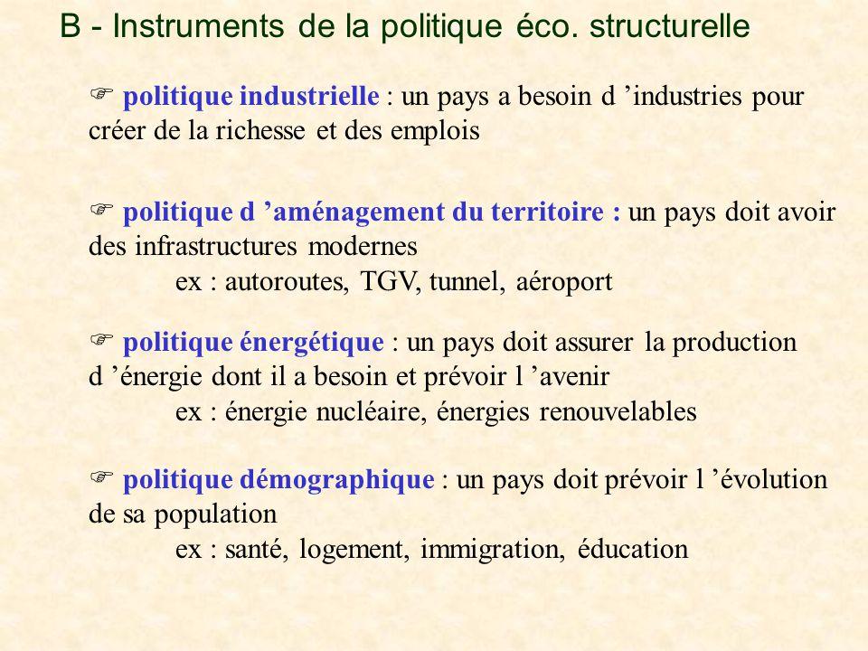 B - Instruments de la politique éco. structurelle