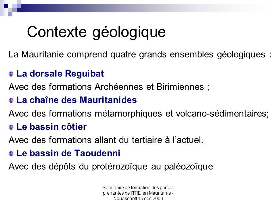 Contexte géologique La Mauritanie comprend quatre grands ensembles géologiques : La dorsale Reguibat.