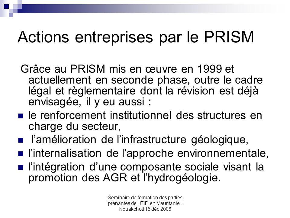Actions entreprises par le PRISM