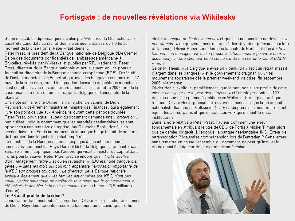 Fortisgate : de nouvelles révélations via Wikileaks