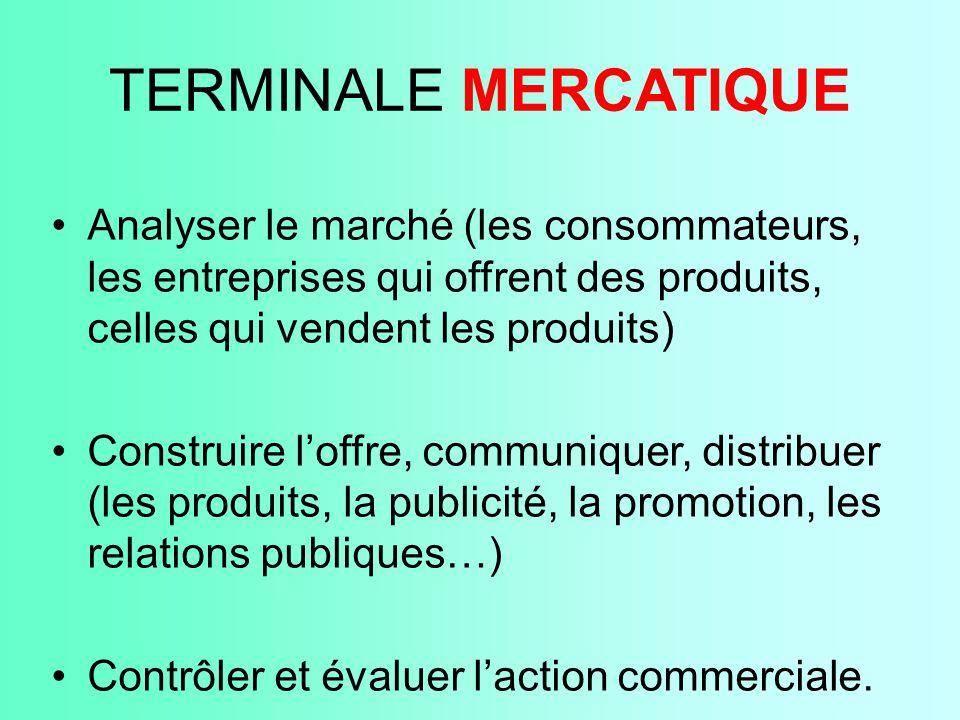 TERMINALE MERCATIQUE Analyser le marché (les consommateurs, les entreprises qui offrent des produits, celles qui vendent les produits)