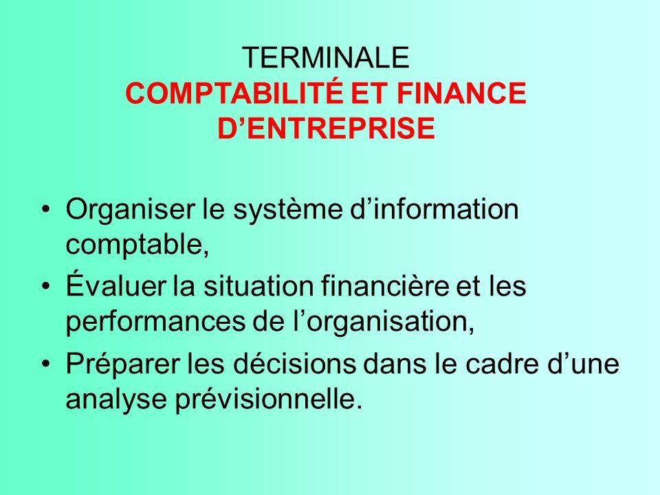TERMINALE COMPTABILITÉ ET FINANCE D'ENTREPRISE